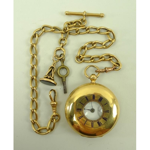849 - An 18ct gold half hunter pocket watch, key wind, with enamelled Roman numerals to outer case, openin...