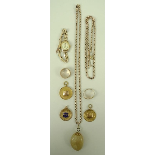 850 - A 9ct gold chain, 9ct gold and enamel medals, a ladies' gold 1930's wristwatch, 9 ct gold band and a...