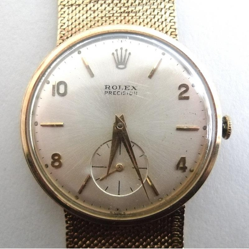 865 - A Rolex Precision gentleman's wristwatch, late 1960's, with 9ct gold case and clasp, manual wind, th...