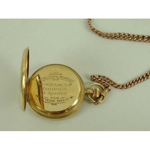845 - A 9ct gold pocket watch, 93.8g including movement, together with a 9ct gold watch chain and 9ct gold...