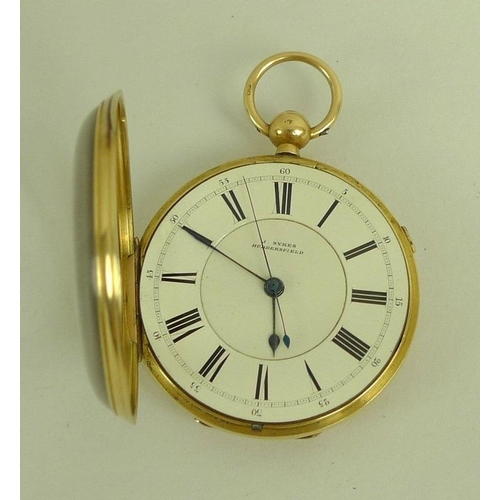 820 - A Victorian 18ct gold pocket watch by J. Sykes, Huddersfield, white enamel dial with black Roman num...