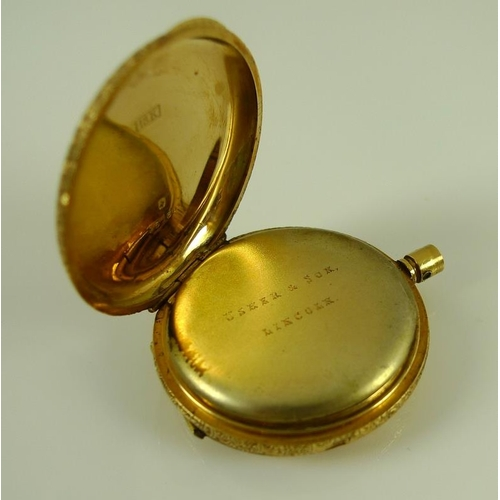 812 - A Victorian lady's 18K gold half hunter pocket watch, the pale pink enamel chapter ring with blue Ro...