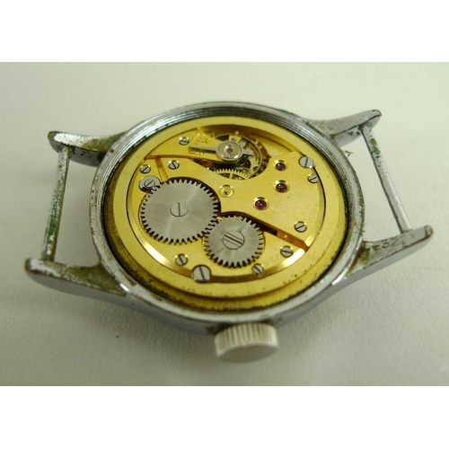 887 - A WWII Lemania steel cased 'Dirty Dozen' military wristwatch, mechanical hand wind, black dial with ...