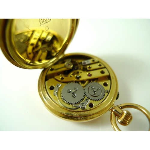 825 - Two 18K gold cased half hunter lady's pocket watches, both keyless wind, with Roman numerals to oute...