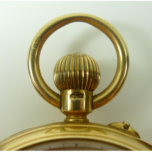 844 - A Victorian 18ct gold pocket watch, open faced, keyless wind, the white enamel dial with subsidiary ...