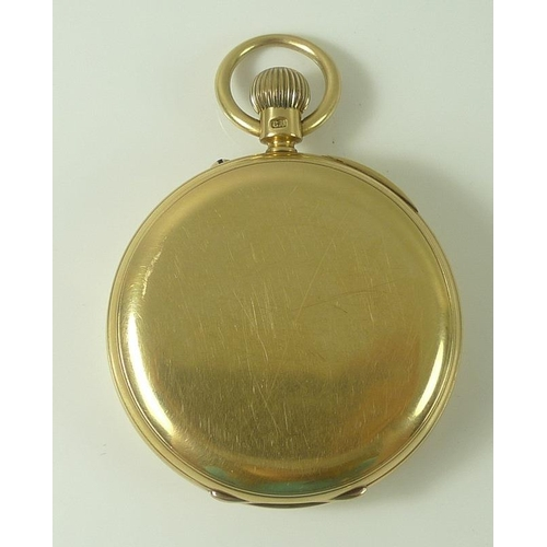 854 - An 18ct gold pocket watch, open face, keyless wind, the white enamel dial with Roman numerals and su...
