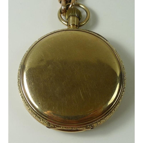 856 - A Thomas Russell & Son 9ct gold pocket watch, open face, keyless wind, white dial and central second...
