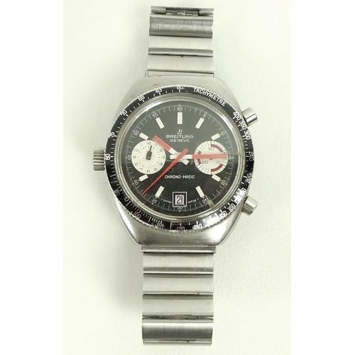 809 - A Breitling Geneve Chrono-Matic steel cased gentleman's wristwatch, ref 2114, circa 1970's, inverse ...