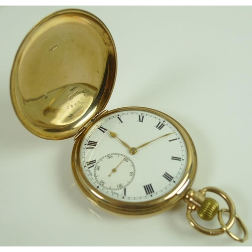 845 - A late Victorian 9ct gold cased full hunter pocket watch, keyless wind, white enamel dial with black...