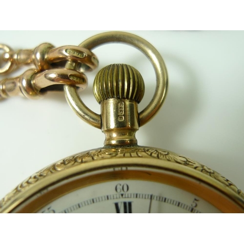 772 - A Thomas Russell & Son 9ct gold pocket watch, open face, keyless wind, white dial and central second...