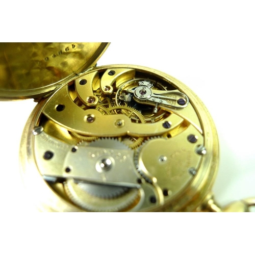 842 - An 18ct gold pocket watch, the white enamel dial with Arabic numerals and subsidiary seconds, the di...
