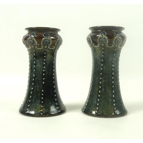 A Pair Of Art Nouveau Royal Doulton Vases Of Waisted Form With