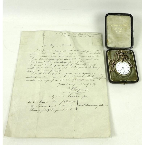 785 - An early 19th century gold pocket watch and chain, white enamel dial with black Roman numerals and m...