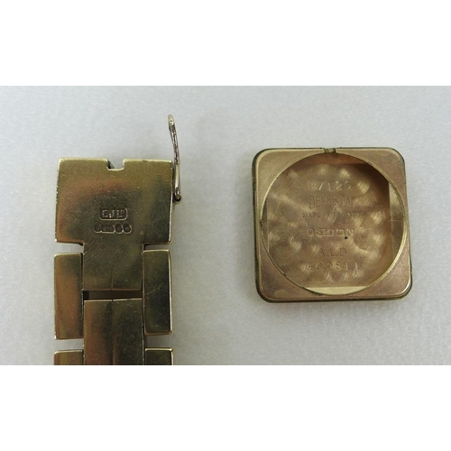 837 - A lady's Rotary 9ct gold cased wristwatch, on 9ct gold gate link bracelet strap, circa 1955, the squ...