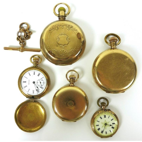 775 - An American 14K gold closed face pocket watch, keyless wind, the white enamel dial with subsidiary s...