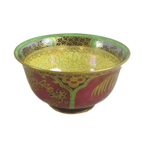 501 - A Wedgwood Fairyland lustre bowl, designed by Daisy Makeig-Jones, 'Willow' pattern Z5440, the exteri...
