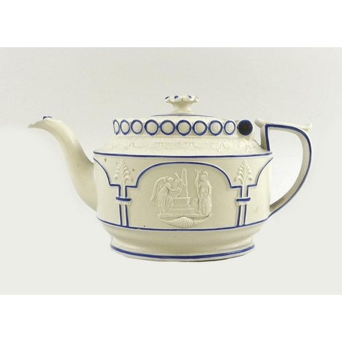 510 - An early 19th century white stoneware teapot, moulded in relief with opposing panels of classical fi...