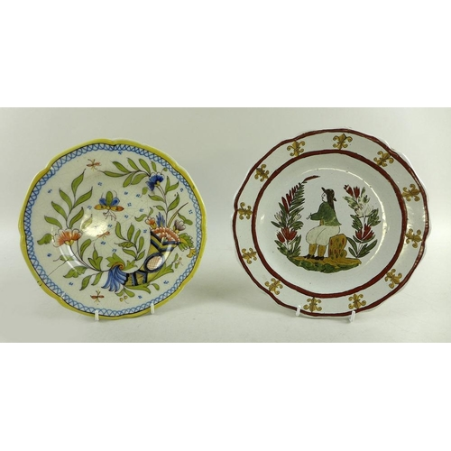 531 - A French 18th century Nevers tin-glazed faience plate decorated with a Dutchman smoking a pipe and a...