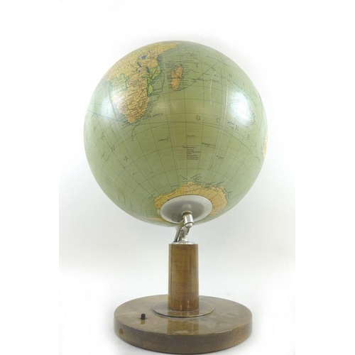 718 - A vintage illuminated desk top terrestrial globe, entitled the Dr Neuse Columbus Globe, retailed by ...