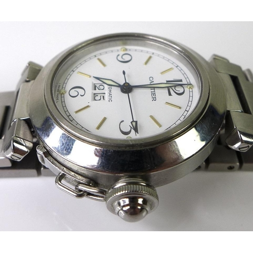 833 - A Cartier Pasha model C stainless steel automatic wristwatch, reference 2475, the circular white dia...