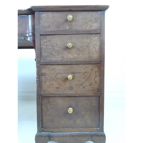 919 - A 19th century mahogany kneehole desk, nine drawers with brass pull handles, dark red leather skiver...