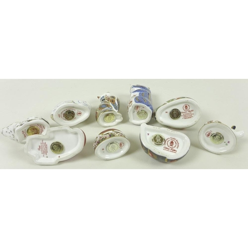 508 - A collection of Royal Crown Derby bone china paperweights, comprising Puppy, (2000), Ladybird, LXI, ...