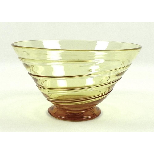 515 - A 1930s Whitefriars Glass shallow ribbon trailed bowl, pattern 9031, designed by Tom Hill, footed ci...
