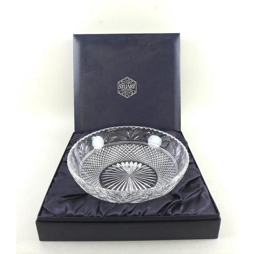 516 - A large Stuart lead crystal cut glass bowl 30cm diameter, boxed, plus a Scandinavian engraved clear ...