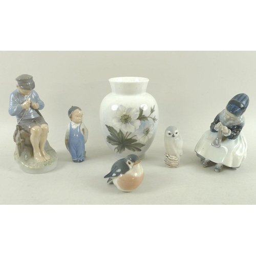 536 - A group of Royal Copenhagen china figurines, comprising girl sitting, 1314, 15cm, shepherd boy cutti...