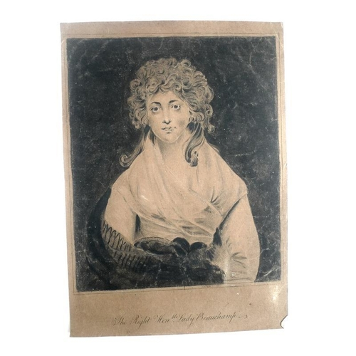 551 - The Right Honorable Lady Beauchamp, a portrait in ink and watercolour on paper, unsigned, with her t...
