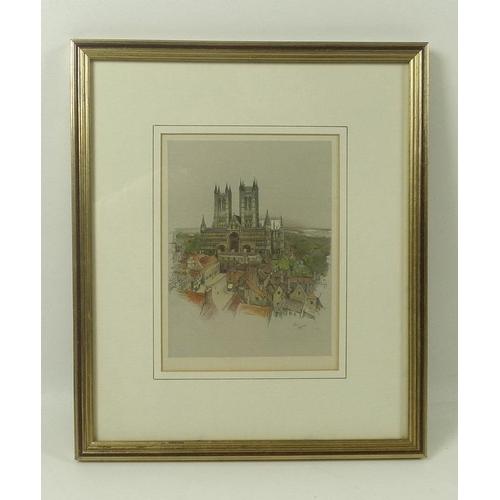 554 - Cecil Aldin (British, 1870-1935): three prints, one of a stage coach through snow, 30.5 by 55cm, fra...