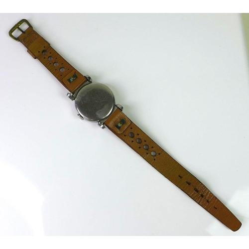 756 - A Omega gentleman's steel cased wristwatch, circa 1940, circular matte silvered dial, luminous Arabi...