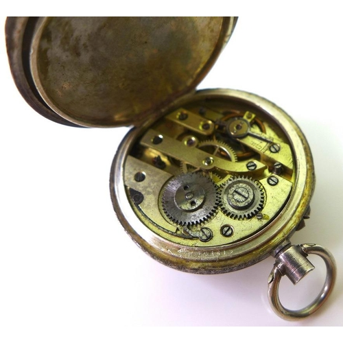 757 - A pair of Edwardian paste shoe buckles, each 5 by 3.5cm, a lady's silver pocket watch, the white ena...