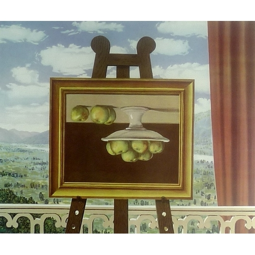 553 - Style of Rene Magritte (Belgian, 1898-1967): a lithographic print depicting a picture of a still lif...