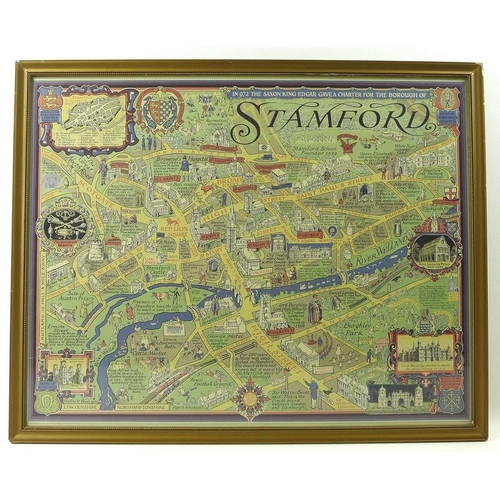 581 - After Wilfrid Rene Wood (British, 1888-1976): map of Stamford, a six colour lithograph, signed and d...