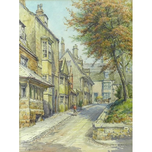 582 - Wilfrid Rene Wood (British, 1888-1976): a view of Stamford up St Peter's Hill, watercolour and penci...