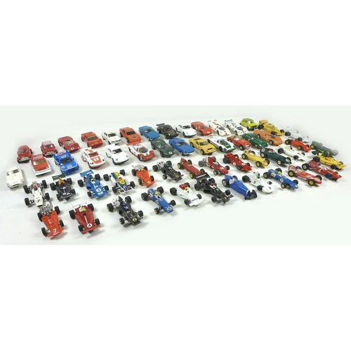 618 - An extensive collection of Hornby Scalextric cars and track, including Dunlop Bridge, Startlight Gan...