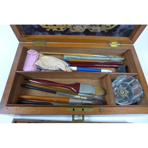 692 - A Victorian and Edwardian Windsor & Newton artist's watercolour set, in a mahogany and ebony strung ...