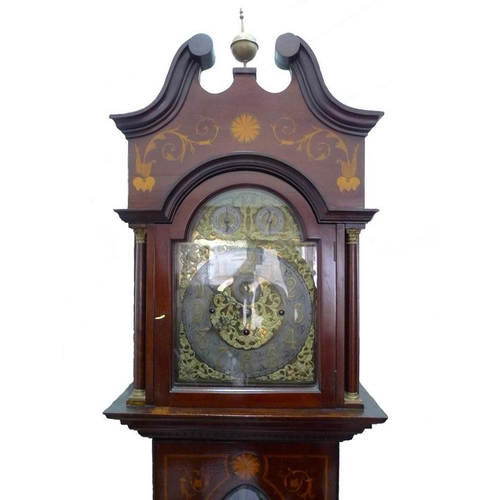 927 - An Edwardian long case clock, crossbanded and inlaid marquetry mahogany case, brass dial with applie...