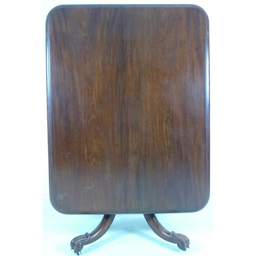 928 - A Victorian mahogany breakfast table of rectangular form on four legged pedestal base with baluster ...