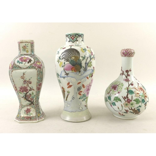 503 - A group of Chinese famille rose porcelain, Qing Dynasty, 19th century, comprising a baluster vase, d...