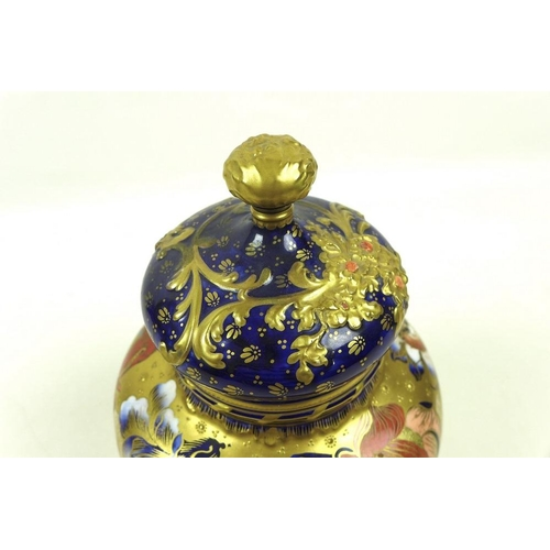 504 - A Royal Crown Derby vase and cover, circa 1899, of shouldered ovoid form, painted in gilt with flora...