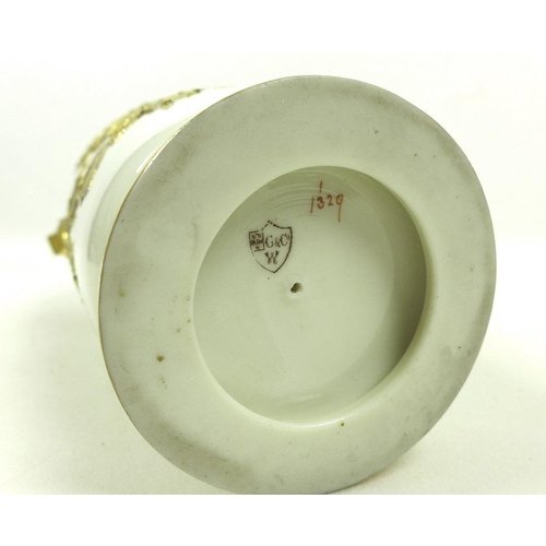 506 - A Grainger & Co, Worcester, pierced vase and cover, circa 1880, of shouldered cylindrical form on a ...
