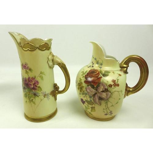510 - Three pieces of Royal Worcester ivory blush porcelain, comprising a pedestal vase, dated 1913, shape...