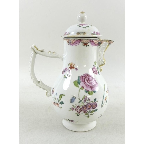 516 - A hard paste porcelain hot water pot, probably Continental early 19th century, of baluster with moul...
