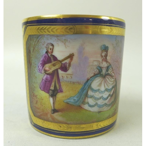 519 - A group of three porcelain coffee cans, 18th and 19th century, comprising larger decorated with red ...