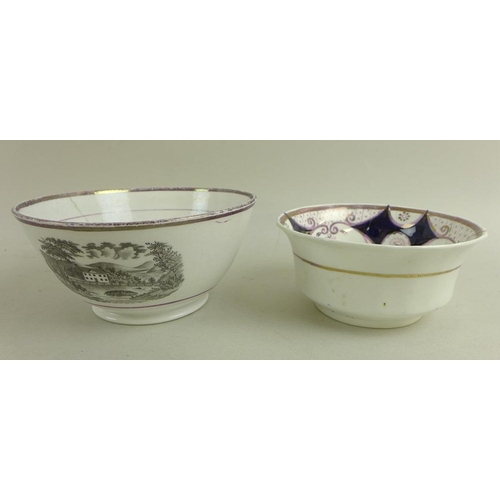 523 - A group of English porcelain, 19th century, comprising a Spode scalloped dish and matching plate, de...