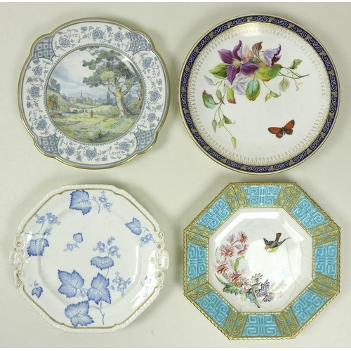 524 - A group of decorative Royal Worcester plates, comprising a cabinet plate decorated with a butterfly ...
