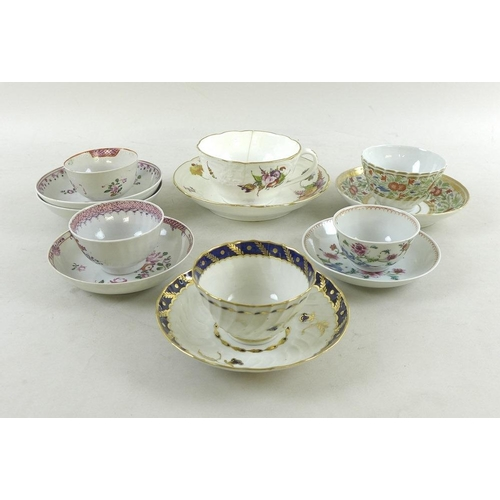525 - A group of English and Chinese porcelain cups, saucers and dishes, 18th and 19th century, including ...