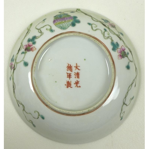 526 - A Chinese porcelain famille vert dish, Qing Dynasty, late 19th century, decorates with branches of c...